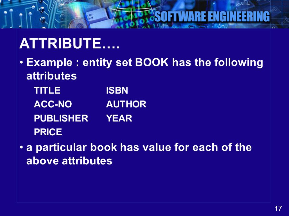 ATTRIBUTE…. Example : entity set BOOK has the following attributes