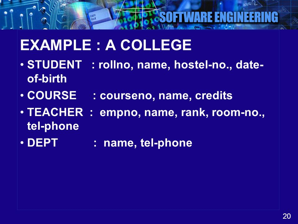 EXAMPLE : A COLLEGE STUDENT : rollno, name, hostel-no., date-of-birth