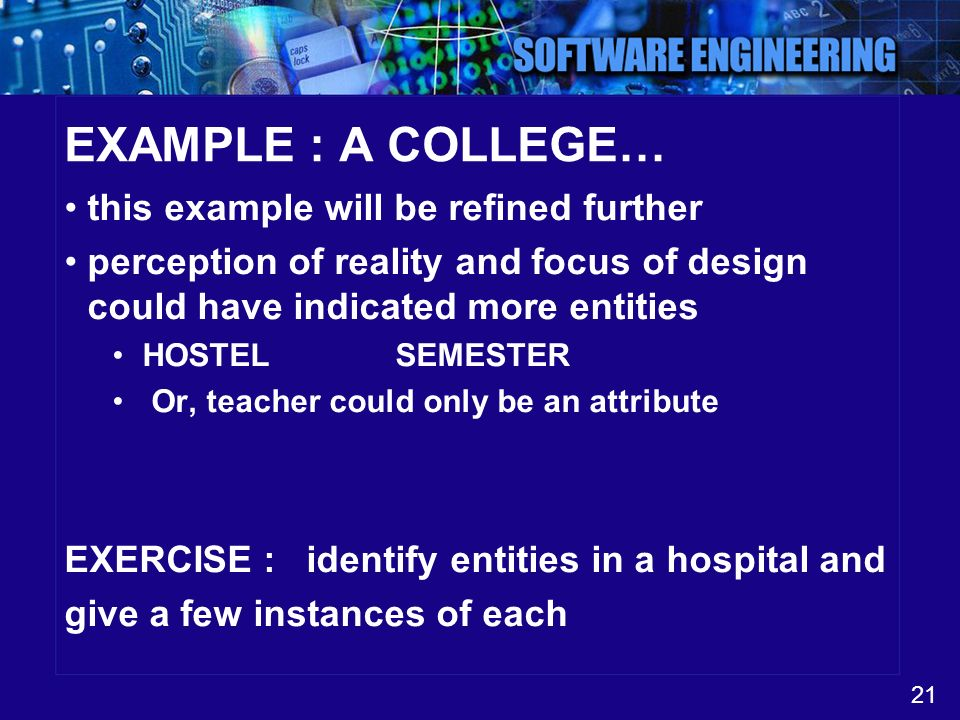 EXAMPLE : A COLLEGE… this example will be refined further