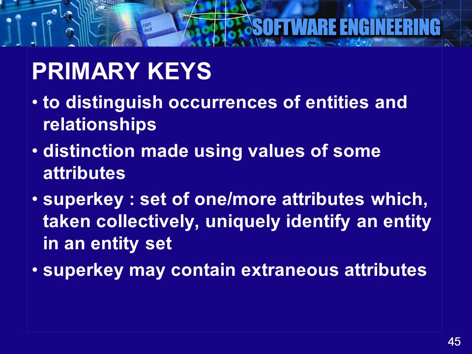 PRIMARY KEYS to distinguish occurrences of entities and relationships