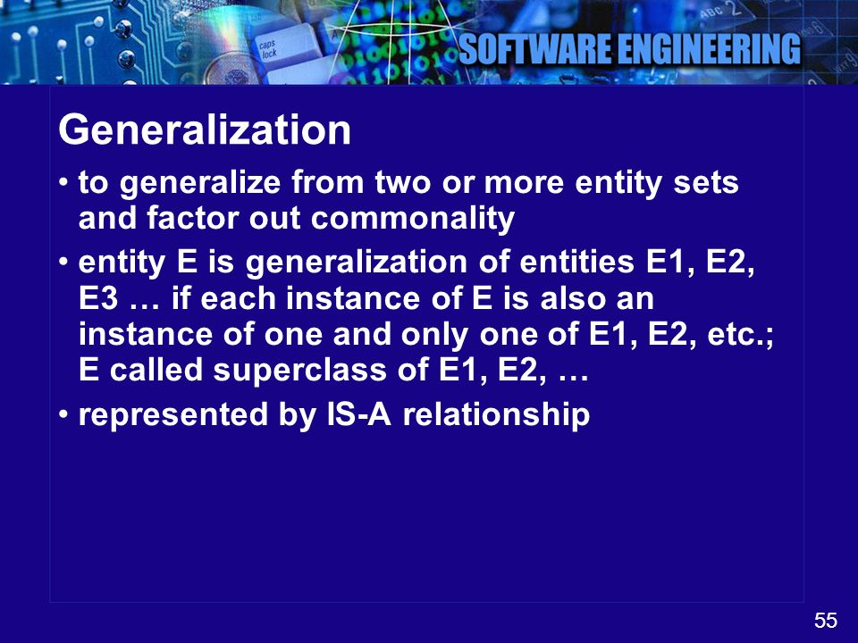 Generalization to generalize from two or more entity sets and factor out commonality.