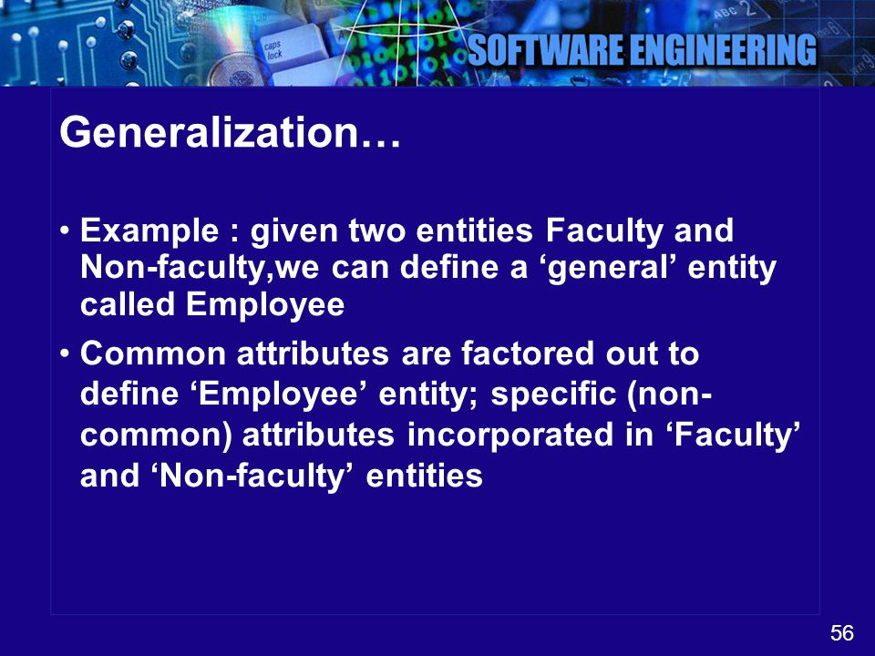 Generalization… Example : given two entities Faculty and Non-faculty,we can define a 'general' entity called Employee.