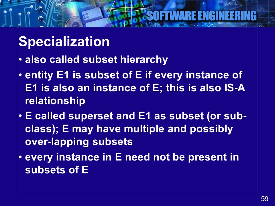 Specialization also called subset hierarchy