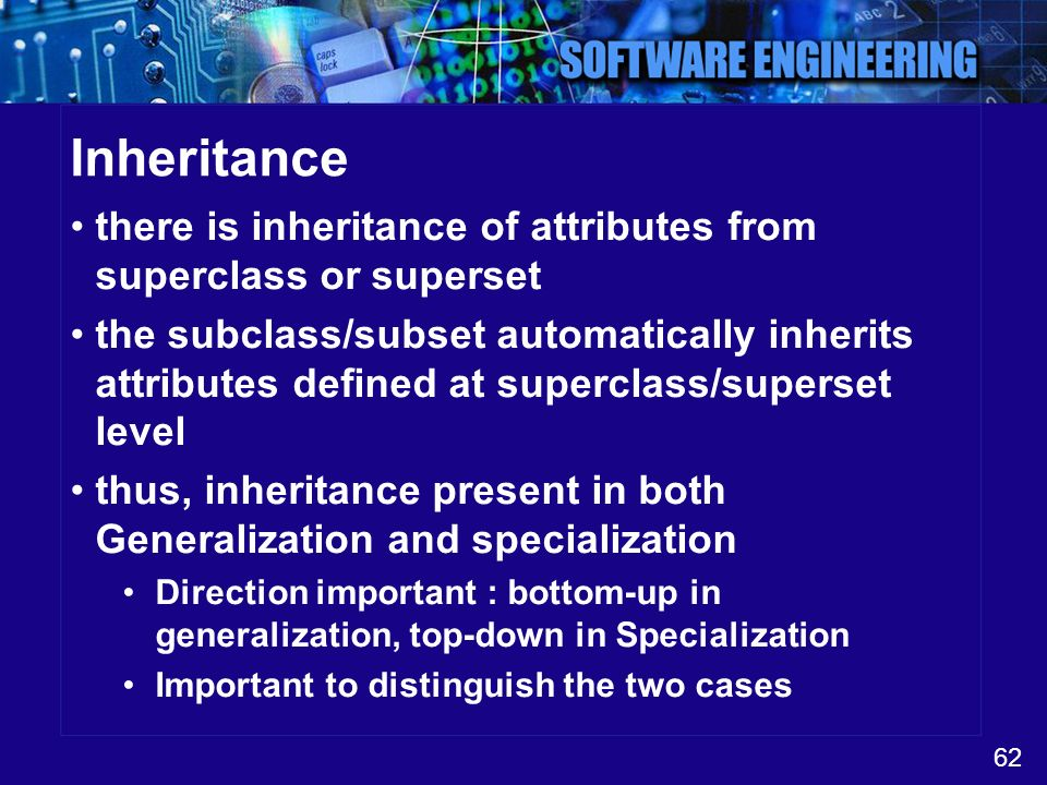 Inheritance there is inheritance of attributes from superclass or superset.