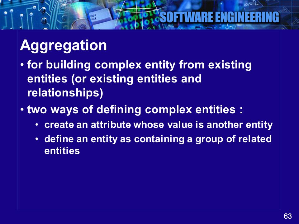 Aggregation for building complex entity from existing entities (or existing entities and relationships)