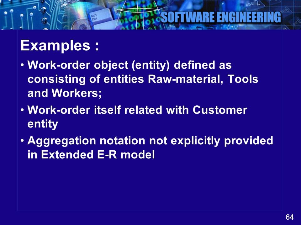 Examples : Work-order object (entity) defined as consisting of entities Raw-material, Tools and Workers;