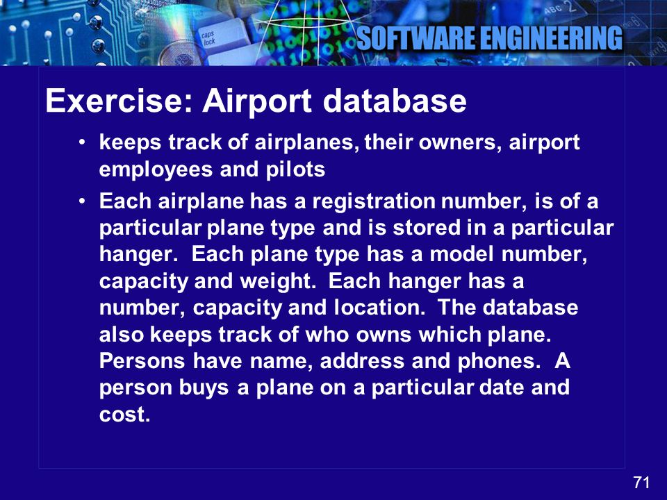 Exercise: Airport database