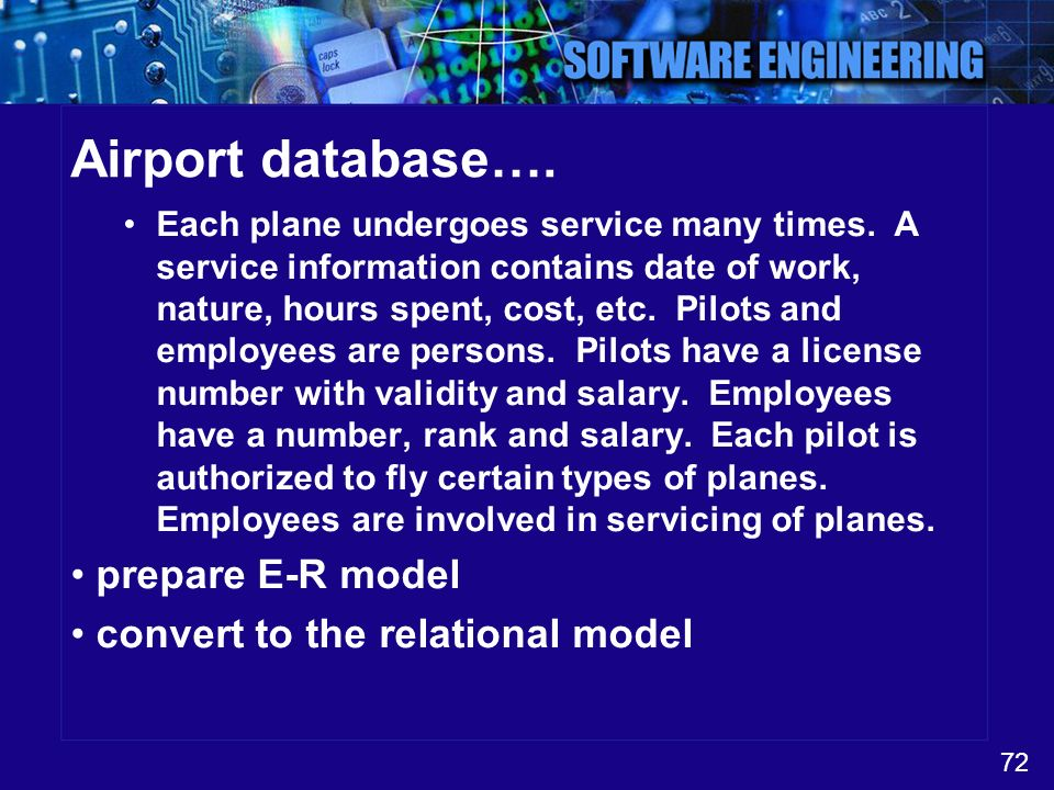 Airport database…. prepare E-R model convert to the relational model