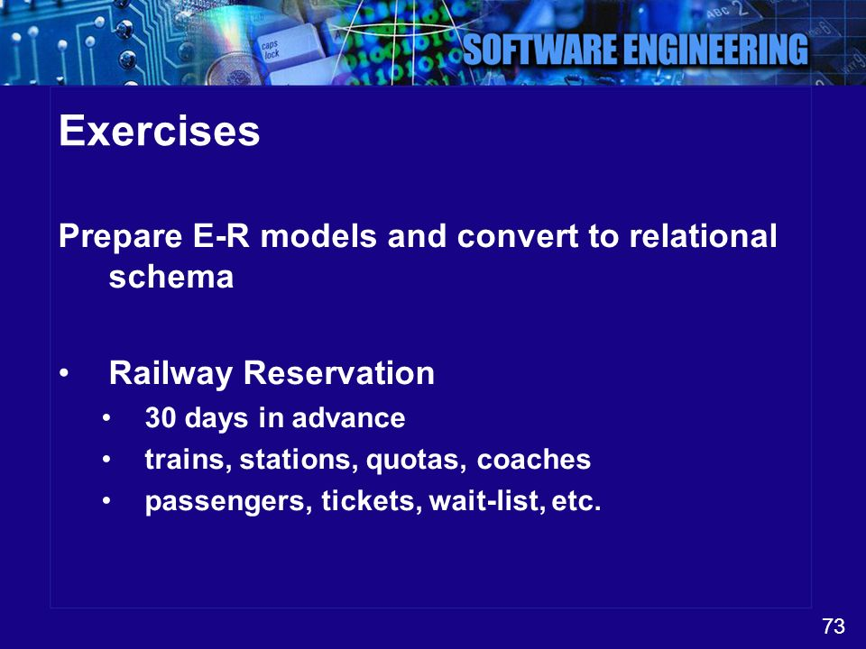 Exercises Prepare E-R models and convert to relational schema
