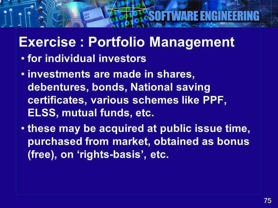Exercise : Portfolio Management