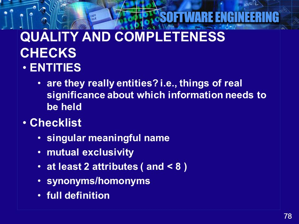 QUALITY AND COMPLETENESS CHECKS