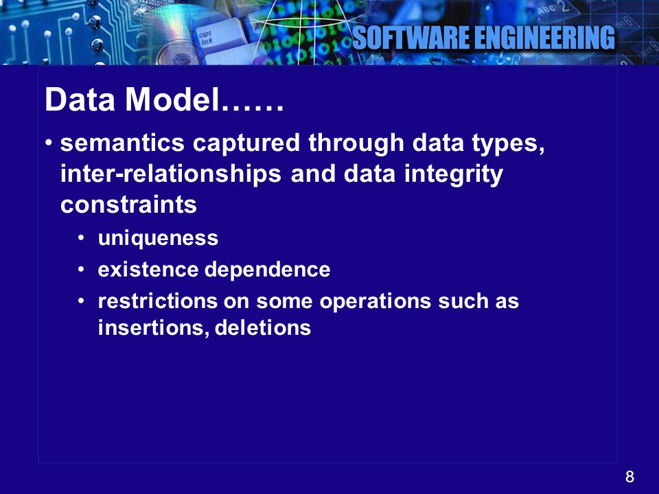 Data Model…… semantics captured through data types, inter-relationships and data integrity constraints.
