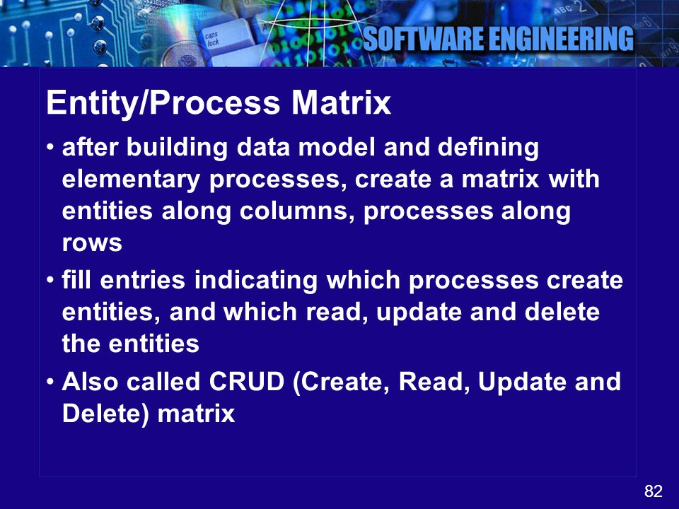 Entity/Process Matrix