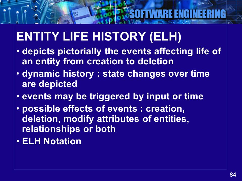 ENTITY LIFE HISTORY (ELH)