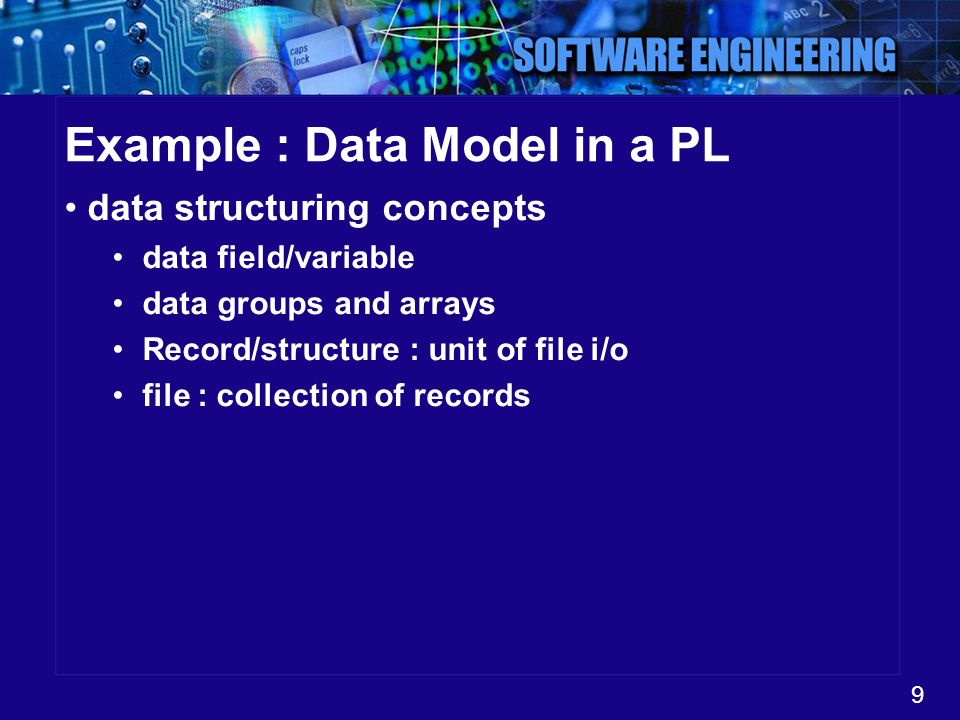 Example : Data Model in a PL