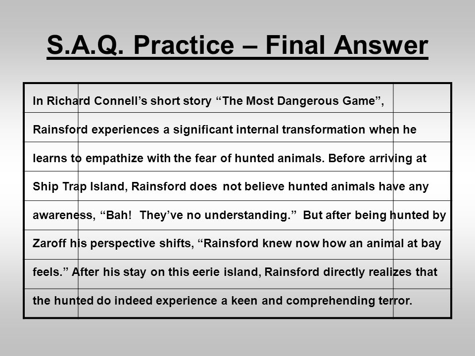 S.A.Q. Practice – Final Answer