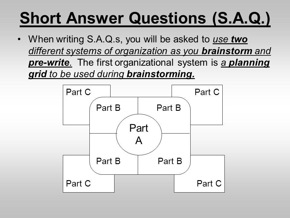 Short Answer Questions (S.A.Q.)