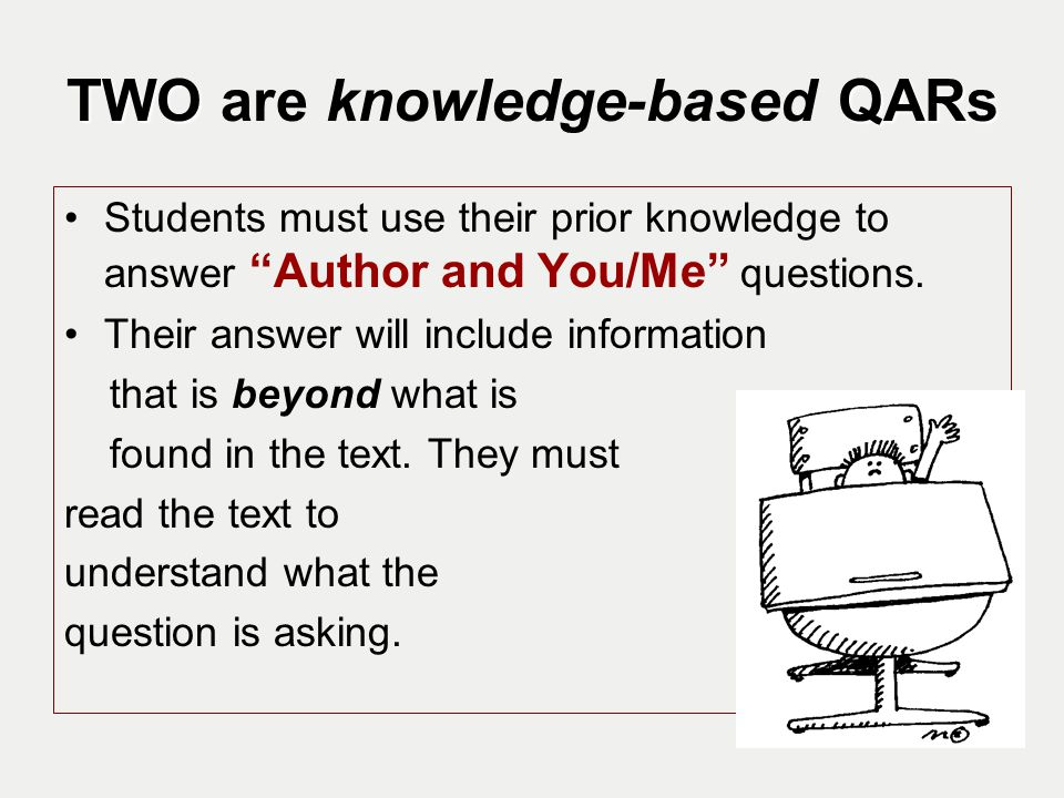 TWO are knowledge-based QARs