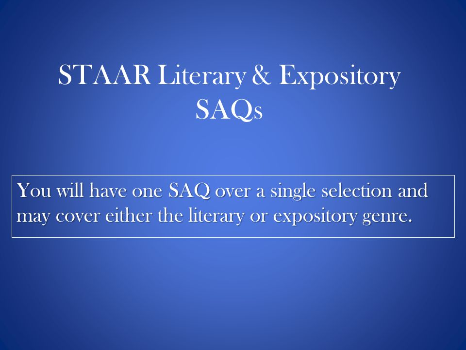 STAAR Literary & Expository SAQs