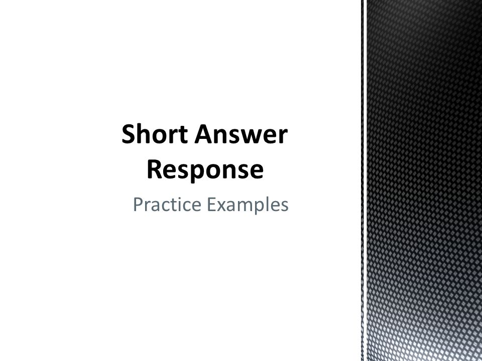Short Answer Response Practice Examples