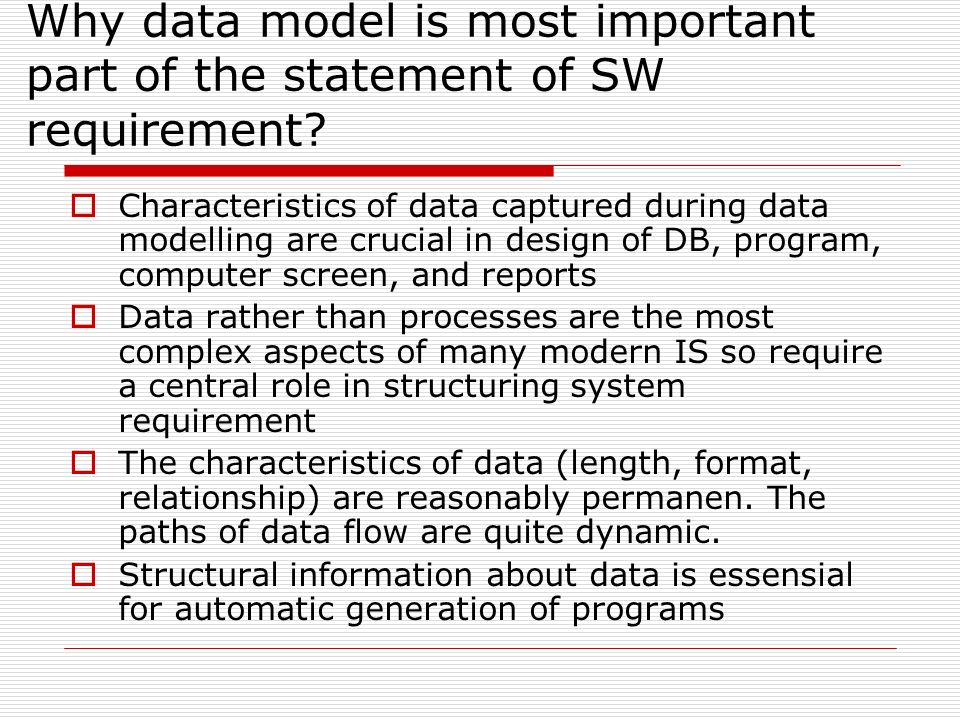 Why data model is most important part of the statement of SW requirement