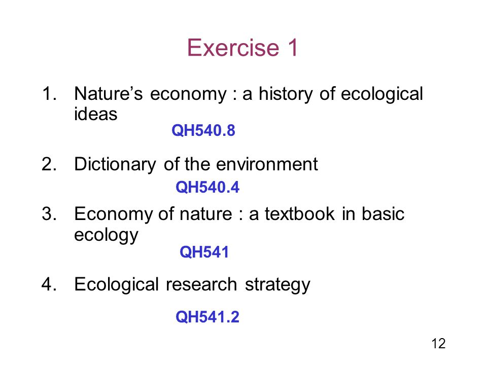 Exercise 1 Nature's economy : a history of ecological ideas