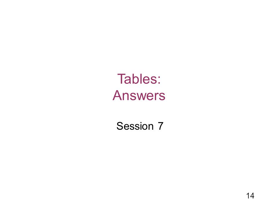 Tables: Answers Session 7