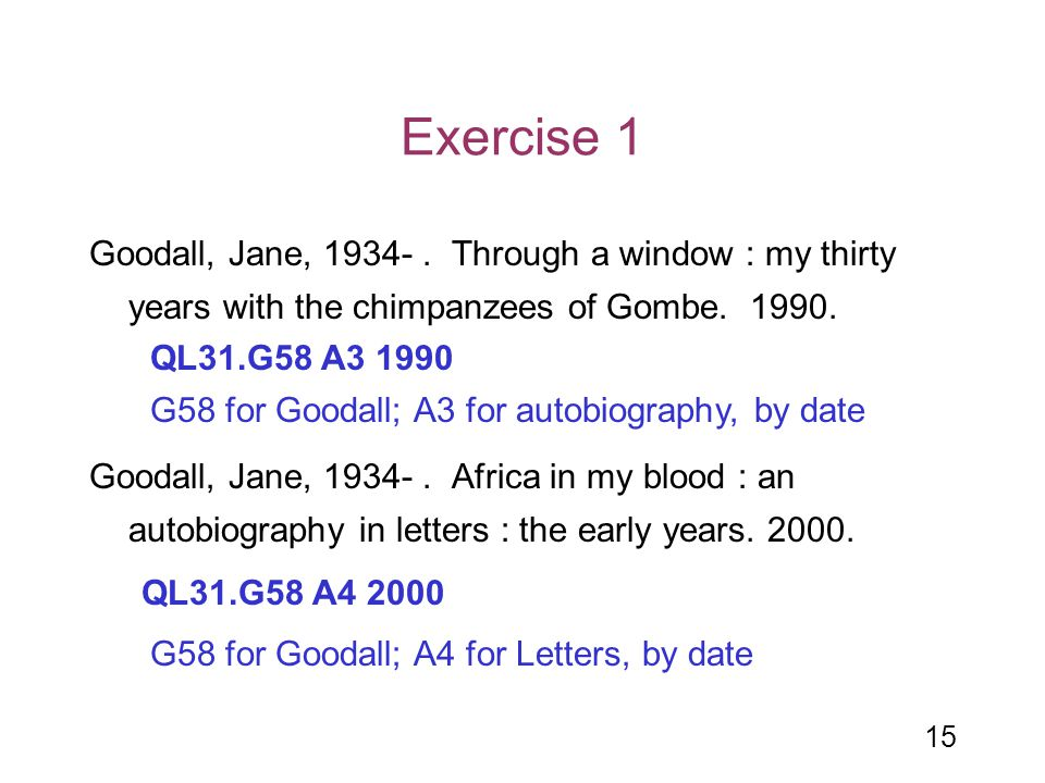 Exercise 1 Goodall, Jane, 1934- . Through a window : my thirty years with the chimpanzees of Gombe. 1990.