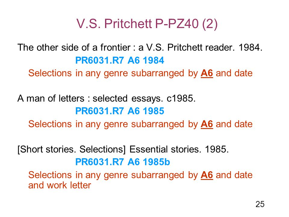 V.S. Pritchett P-PZ40 (2) The other side of a frontier : a V.S. Pritchett reader. 1984. PR6031.R7 A6 1984.