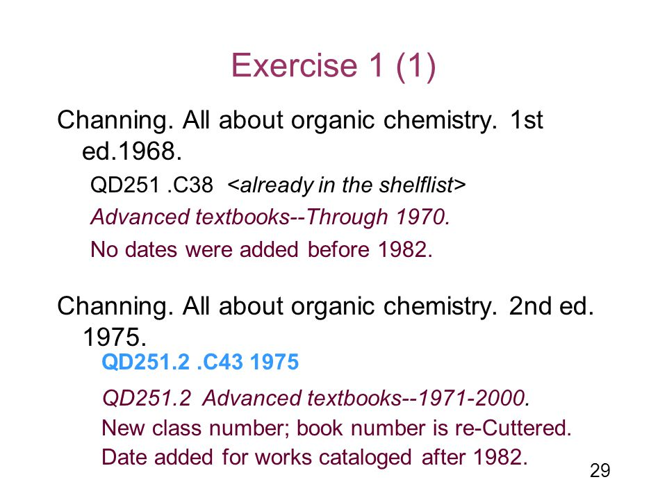 Exercise 1 (1) Channing. All about organic chemistry. 1st ed.1968.