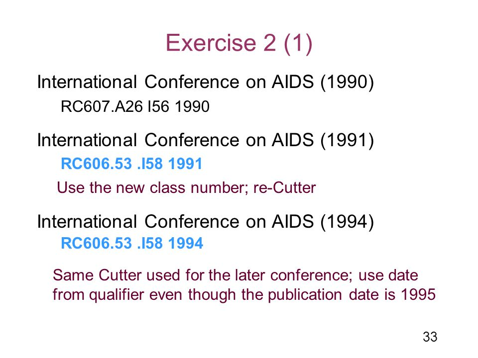 Exercise 2 (1) International Conference on AIDS (1990)
