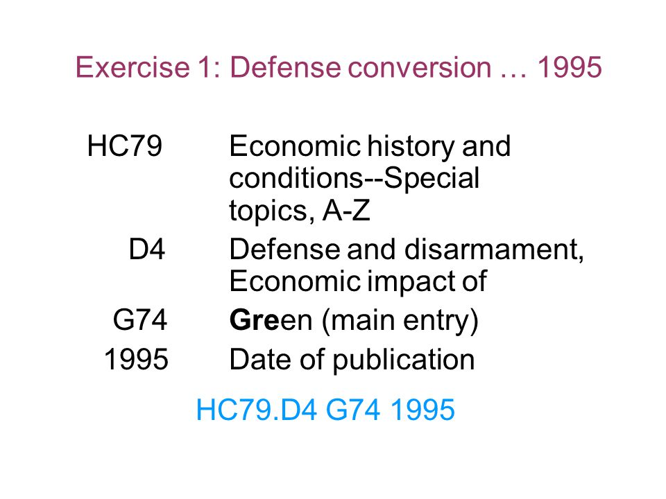 Exercise 1: Defense conversion … 1995
