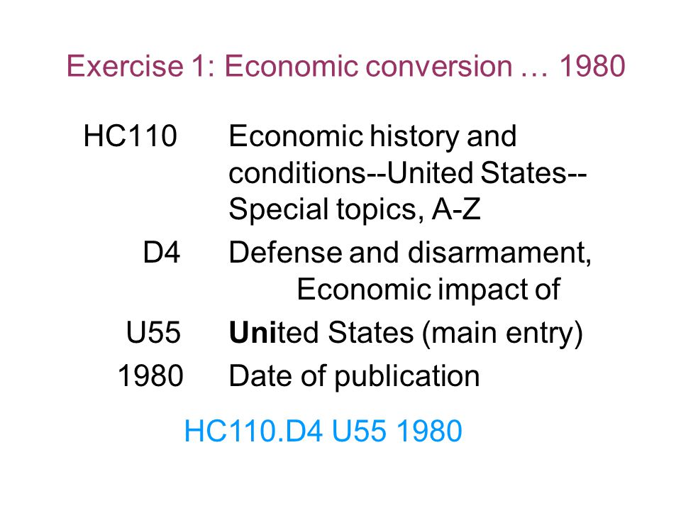 Exercise 1: Economic conversion … 1980
