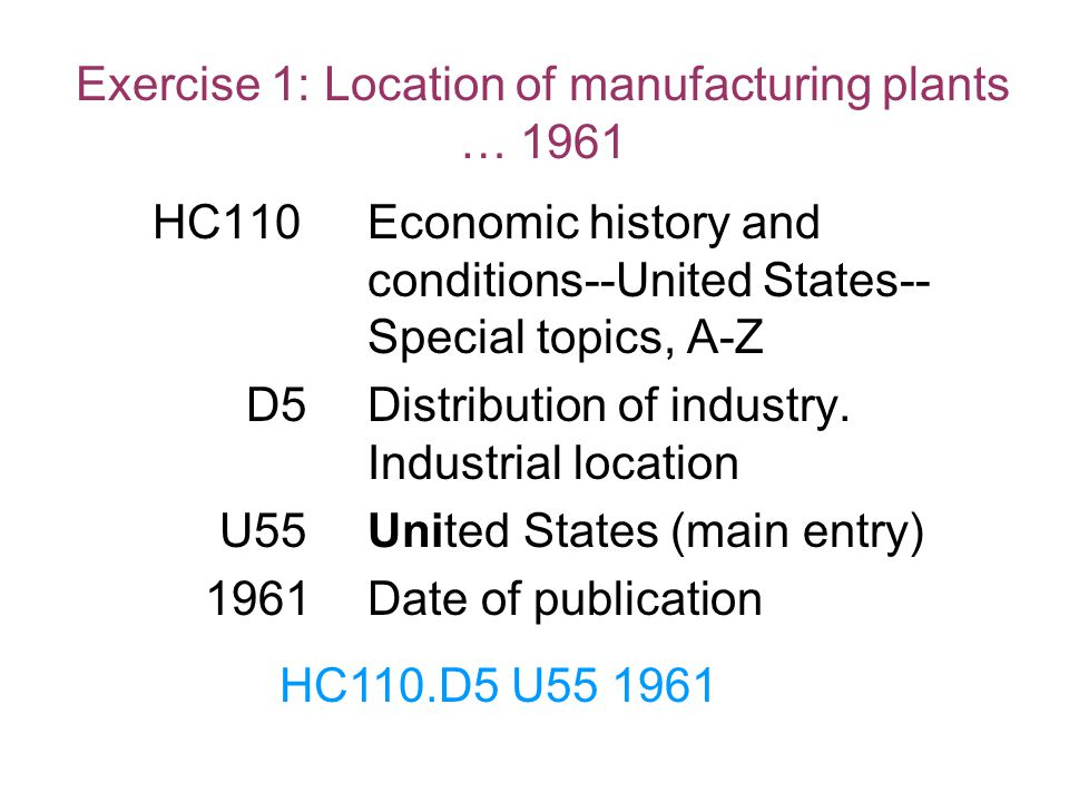 Exercise 1: Location of manufacturing plants … 1961