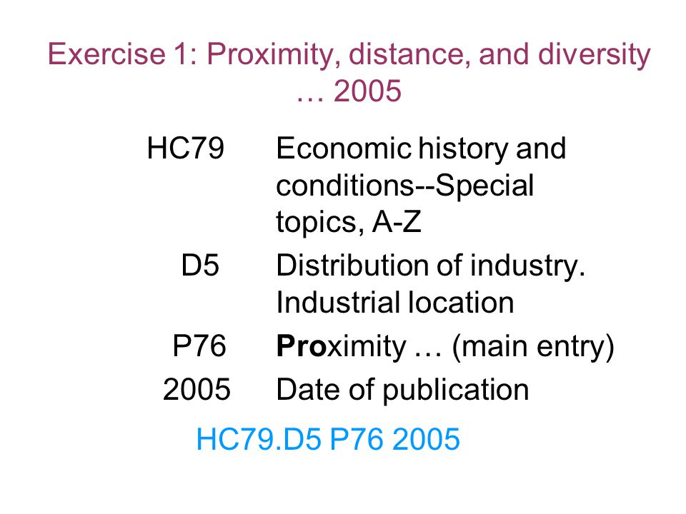 Exercise 1: Proximity, distance, and diversity … 2005