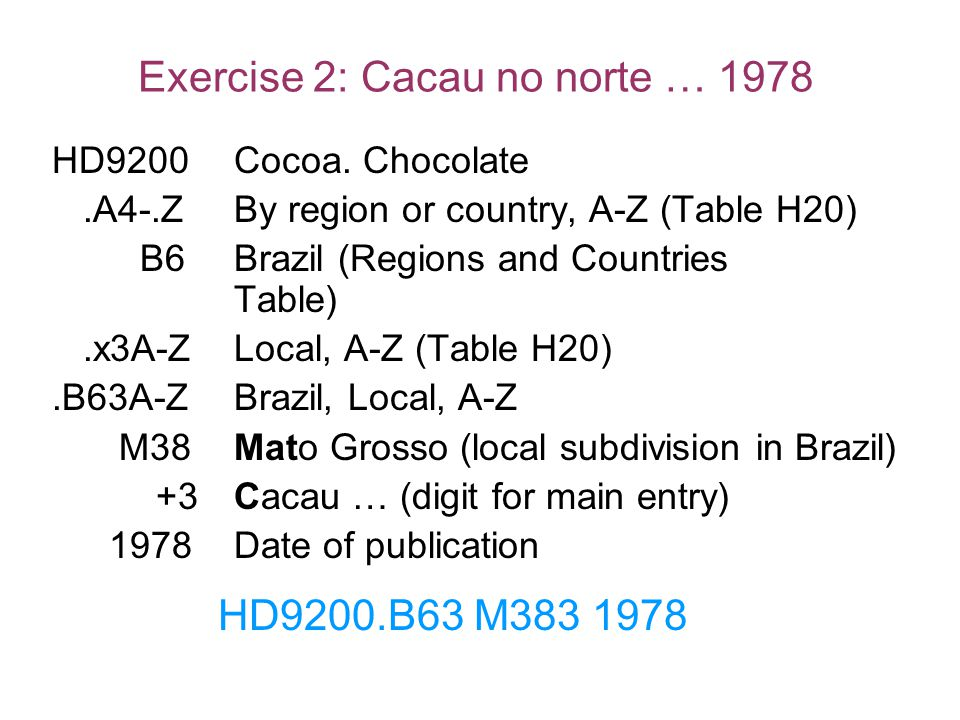 Exercise 2: Cacau no norte … 1978