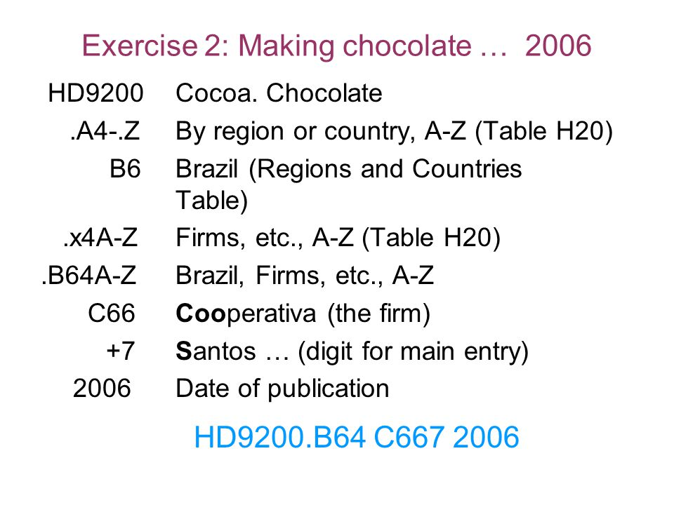 Exercise 2: Making chocolate … 2006
