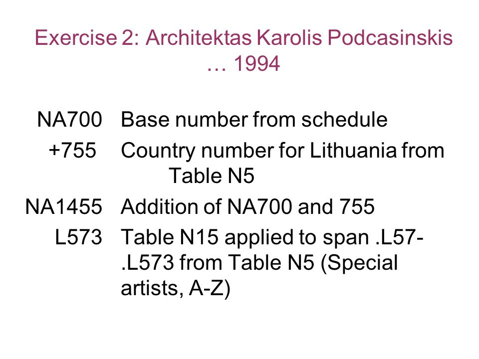 Exercise 2: Architektas Karolis Podcasinskis … 1994