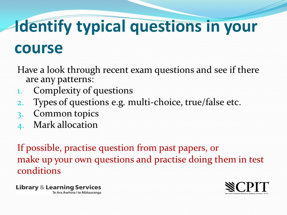 Identify typical questions in your course