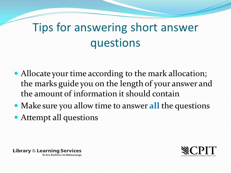 Tips for answering short answer questions