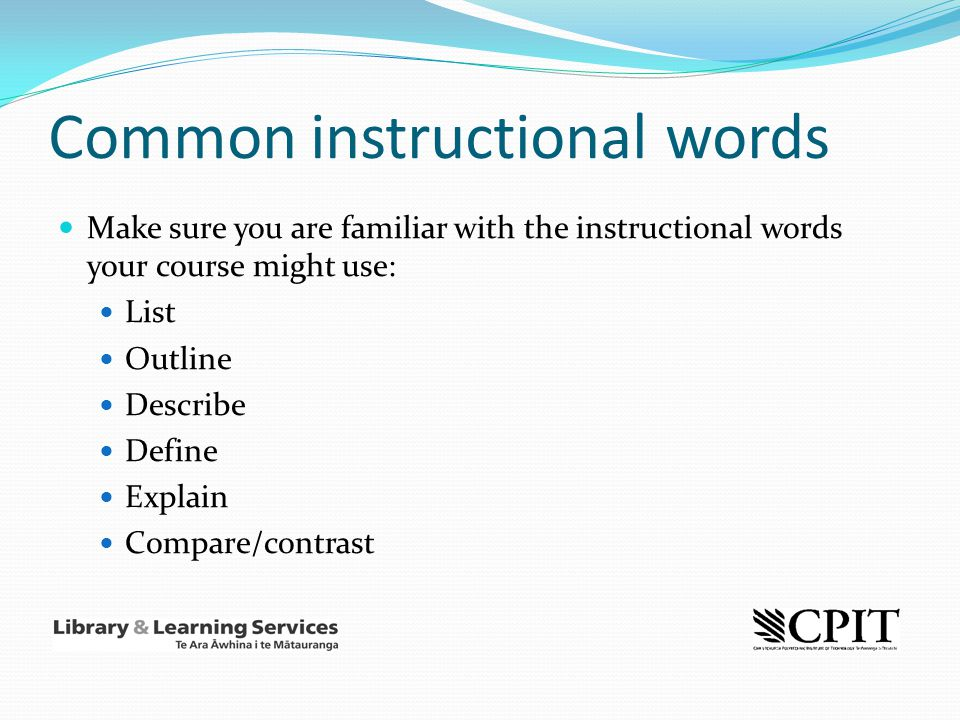 Common instructional words