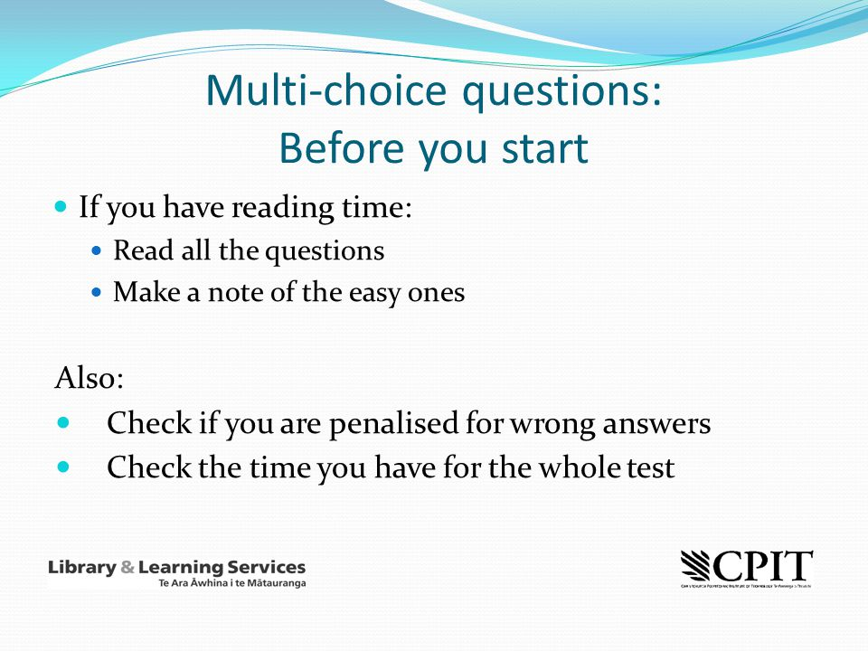 Multi-choice questions: Before you start