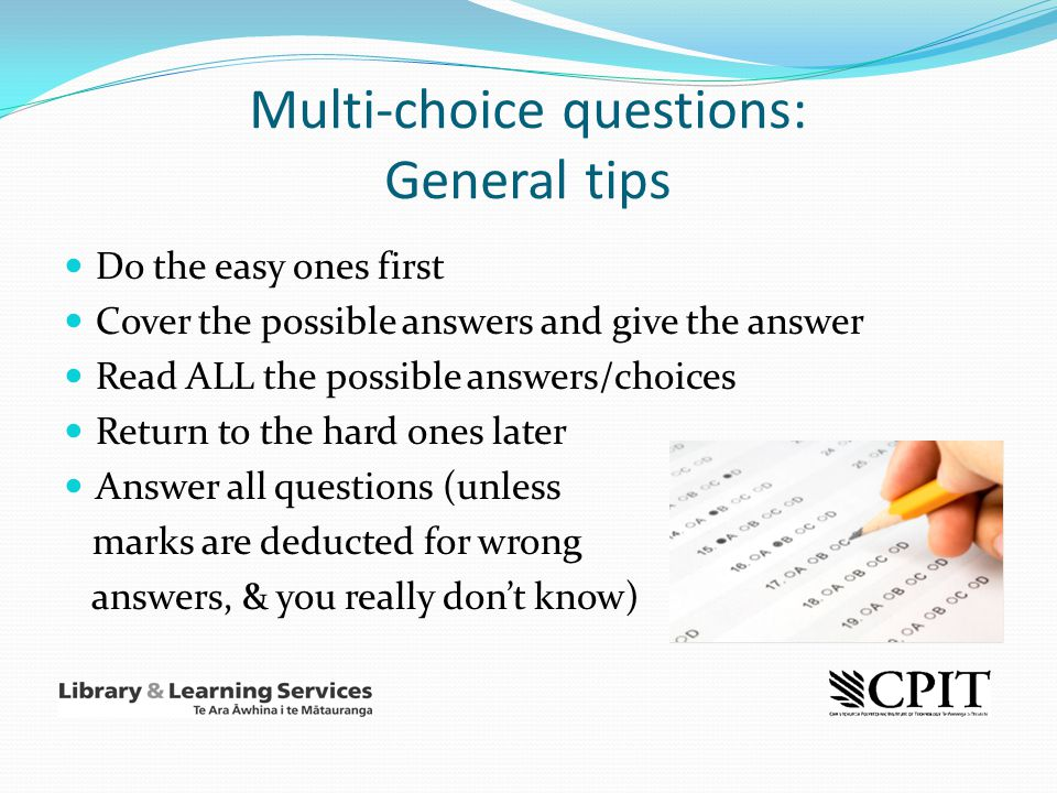 Multi-choice questions: General tips
