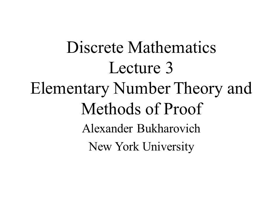 Discrete Mathematics Lecture 3