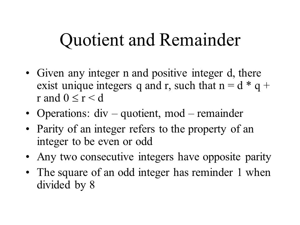Quotient and Remainder