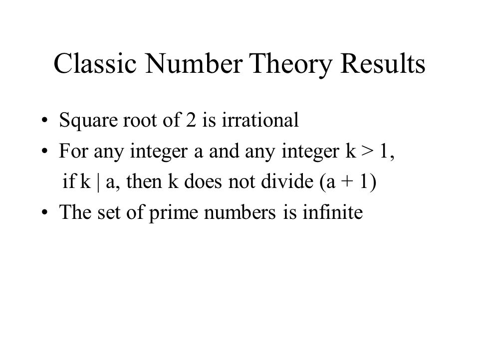 Classic Number Theory Results