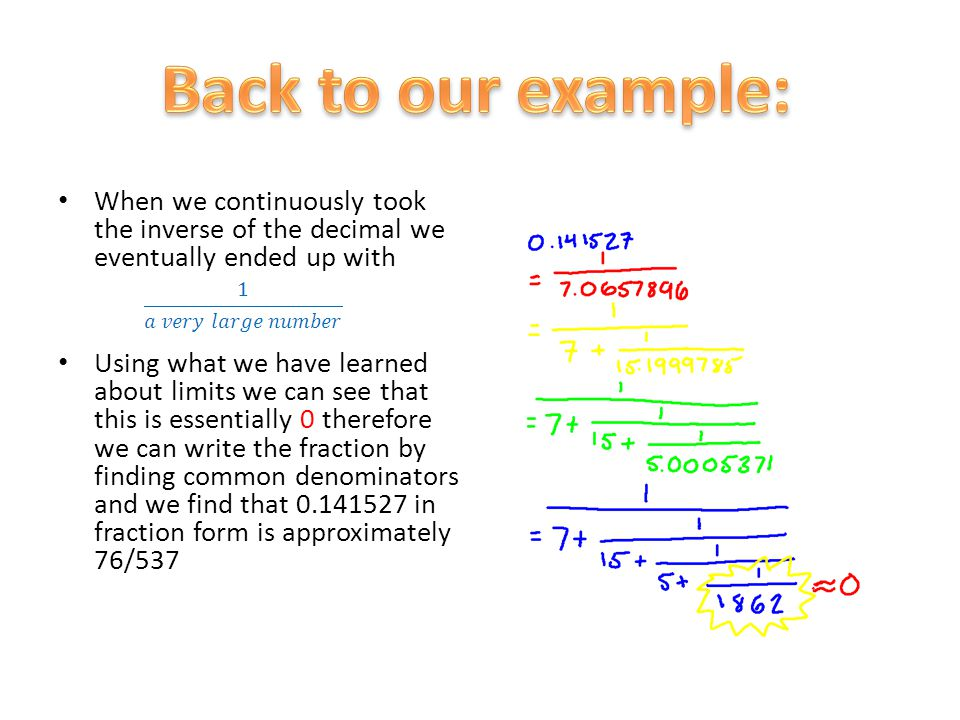 Back to our example: When we continuously took the inverse of the decimal we eventually ended up with.