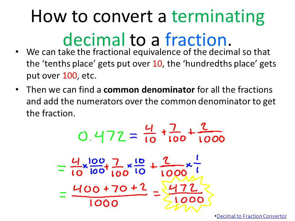 How to convert a terminating decimal to a fraction.