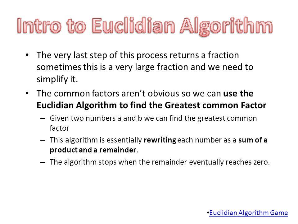 Intro to Euclidian Algorithm