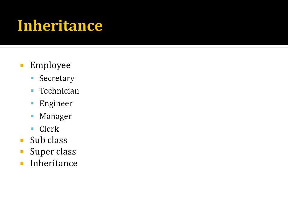Inheritance Employee Sub class Super class Inheritance Secretary